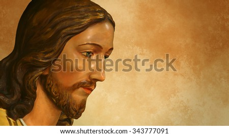 Jesus of Nazareth over grunge background with copy space - stock photo