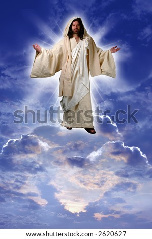 Jesus on a cloud taken up to heaven after his resurrection according to Acts chapter one. - stock photo