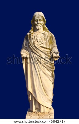 Jesus on blue background - stock photo