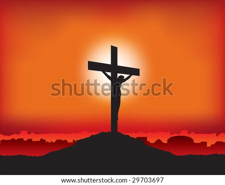 jesus on cross at sunset