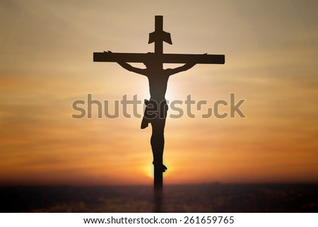 Jesus on cross with blur beautiful background. - stock photo