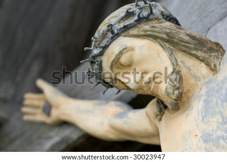 Jesus on crucifix - stock photo