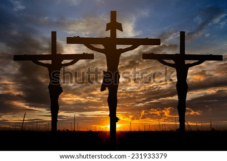 Jesus on the cross background - stock photo