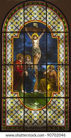 jesus on the cross - windowpane from Slovakia - Senec