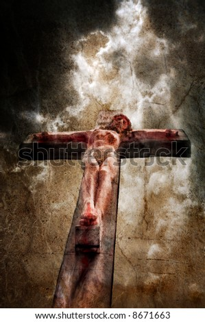 Jesus on the cross with stormy sky behind, overlayed with textures. - stock photo