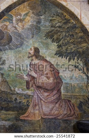 Jesus on the mount of olives. Saint Pierre Cathedral, Poitiers, France. - stock photo
