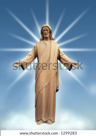 Jesus or God beaming down his graces from heaven. - stock photo