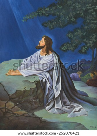 Jesus prays in the garden