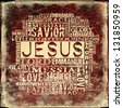 Jesus Religious Words on grunge background - stock photo