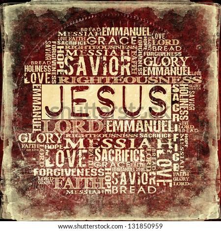 Jesus Religious Words on grunge background - stock photo
