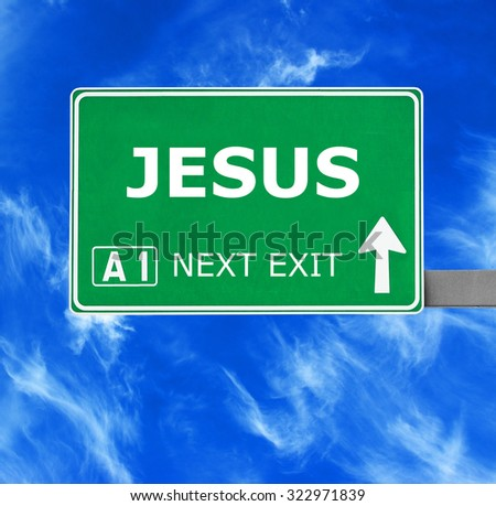 JESUS road sign against clear blue sky