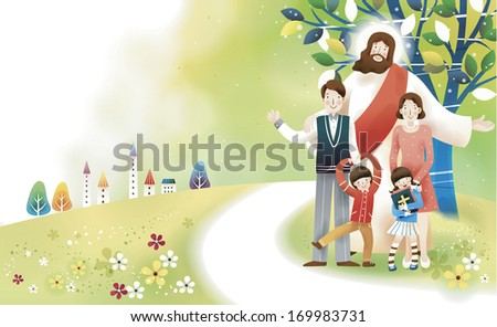 Jesus stands behind a family as a young girl clutches a bible. - stock photo