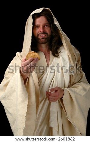 Jesus, the Bread of Life represented by Jesus offering bread. - stock photo