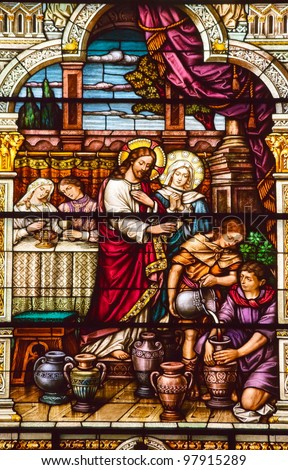 Jesus Turns Water to Wine at Cana Saint Peter and Paul Catholic Church Completed 1924 San Francisco California - stock photo