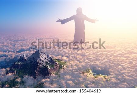 Jesus walking on clouds - stock photo