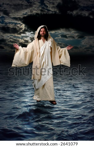 Jesus walking on the water during a night with moonlight. - stock photo