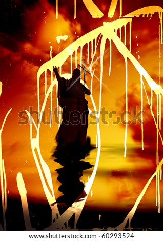 Jesus with Cross Silhouette and reflection on Water Grunge Concept - stock photo
