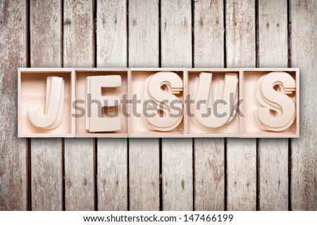 Jesus wood word style - stock photo