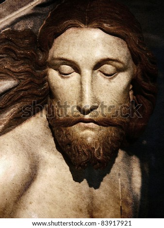 jesus wooden sculpture - stock photo