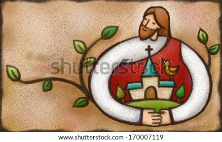 Jesus wrapping his arms around a church building. - stock photo