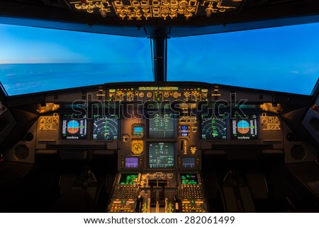 Jet Aircraft Cockpit. - stock photo