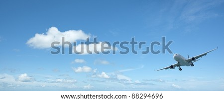 Jet aircraft in a beautiful morning sky. Panoramic composition with a lot of copy space.