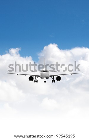 Jet aircraft in a sky after the sunset. Square composition in hi - stock photo