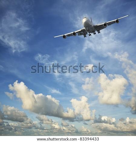 Jet aircraft in flight - stock photo