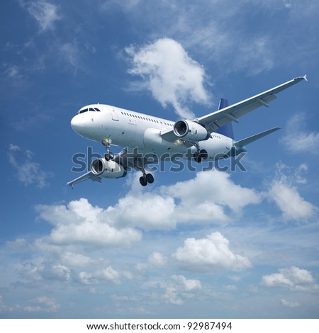 Jet aircraft in flight. Square composition. - stock photo