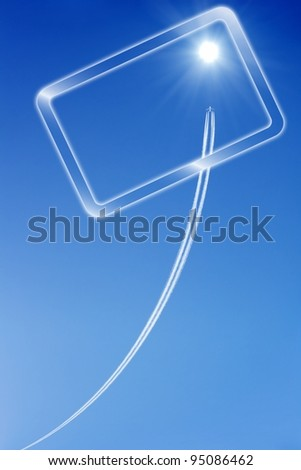 Jet aircraft rises to the bright sun in blue sky. View through tablet pc. Way to success. Concept of progress, improvement.