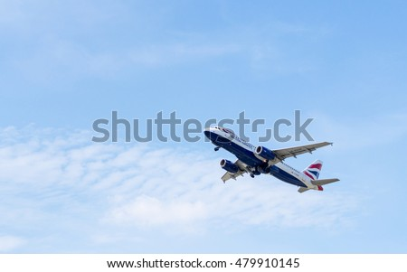 Jet Airliner Background. Airbus A320 by British Airways Copy Space. Airbus A320-232 (G-EUUP) by British Airways on the background of clear sky after take-off. Boryspil, Ukraine - September 4, 2016.