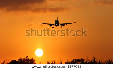 jet airliner landing at sunset