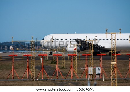 Jet airliner turning for takeoff - stock photo