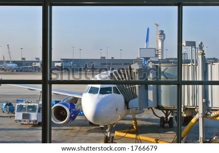 Jet airplane - stock photo