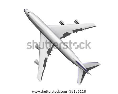 jet airplane isolated on white. Top view. - stock photo