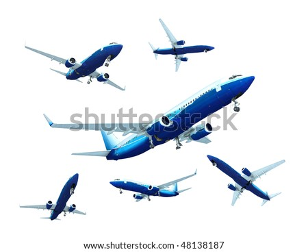 Jet airplane landing, isolated on white - stock photo
