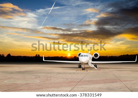 Jet airplane stop for wait VIP passenger on runway.  - stock photo