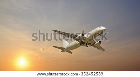jet airplane takeoff in  sky - stock photo