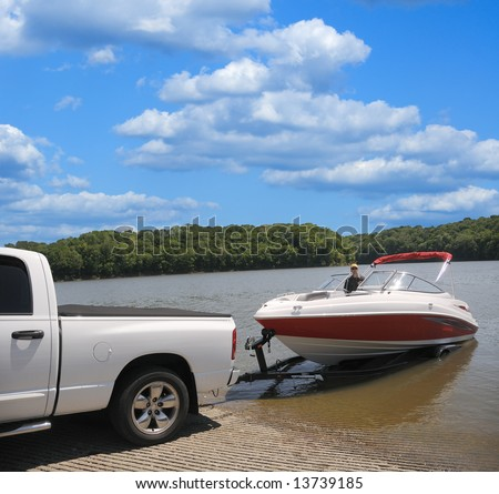 Jet Boat on a trailer preparing to launch. - stock photo