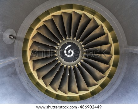Jet engine blades closeup view