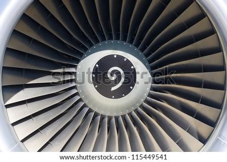 Jet engine close up - stock photo