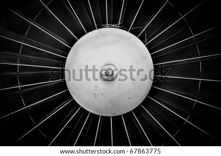 Jet engine closeup in black and white - stock photo