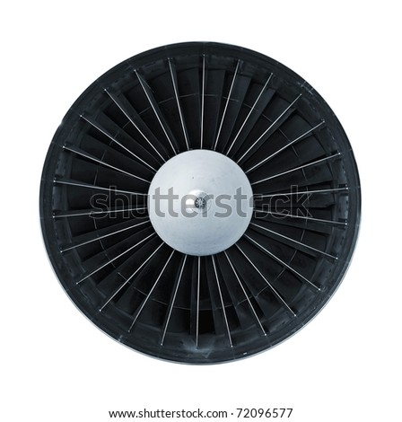 Jet engine front view isolated on white - stock photo