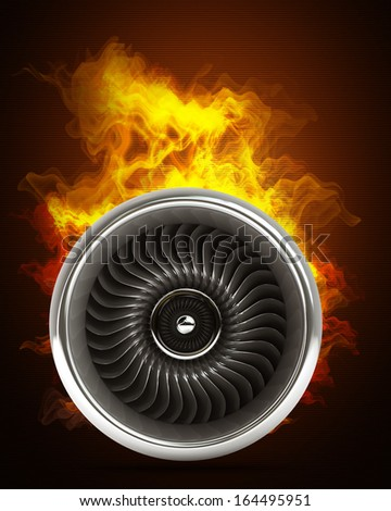 Jet engine in Fire. High resolution. 3D image  - stock photo