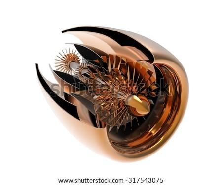 Jet engine inside. High resolution. 3D image - stock photo
