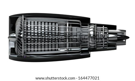 Jet engine inside isolated on white background High resolution 3d  - stock photo