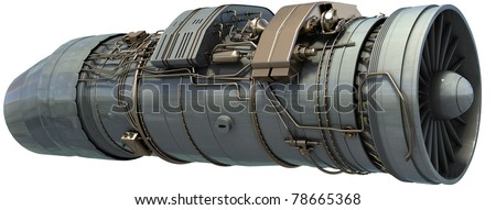 jet engine isolated on white 3d render - stock photo