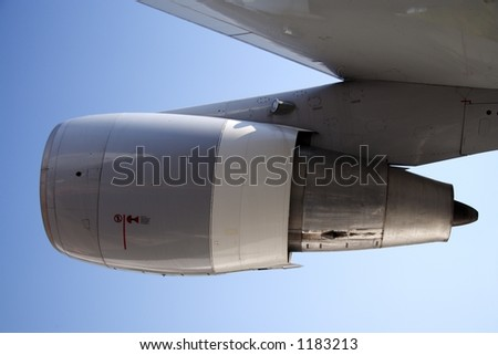 Jet engine of an aircraft - stock photo