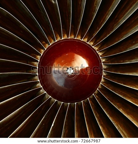 Jet engine turbine - stock photo
