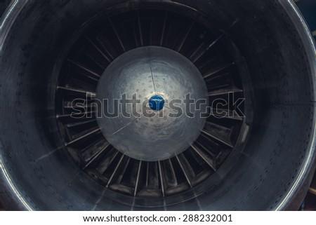 Jet engine turbine airplane. - stock photo
